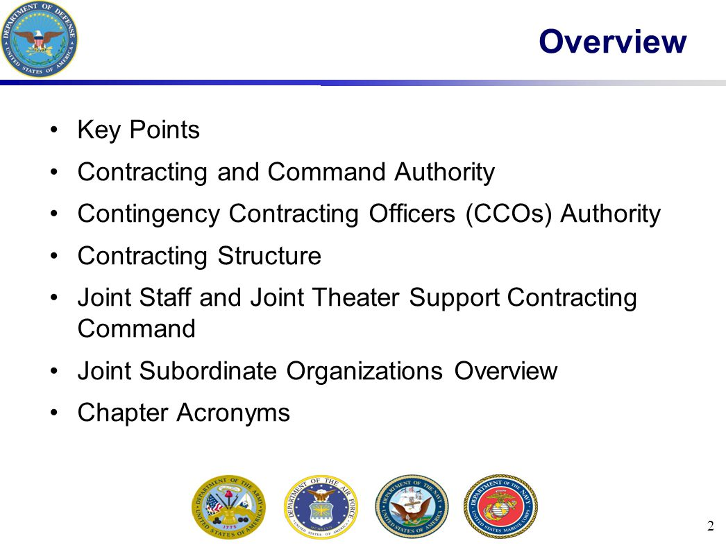 Overview Key Points Contracting and Command Authority