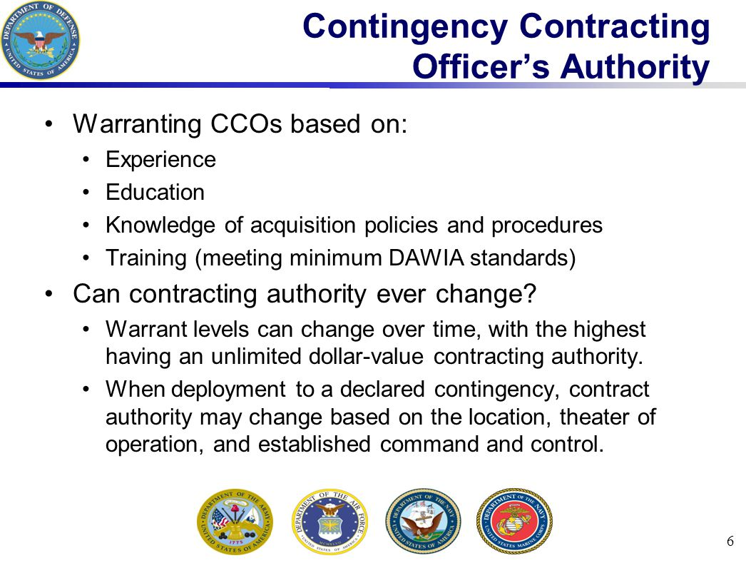 Contingency Contracting Officer's Authority