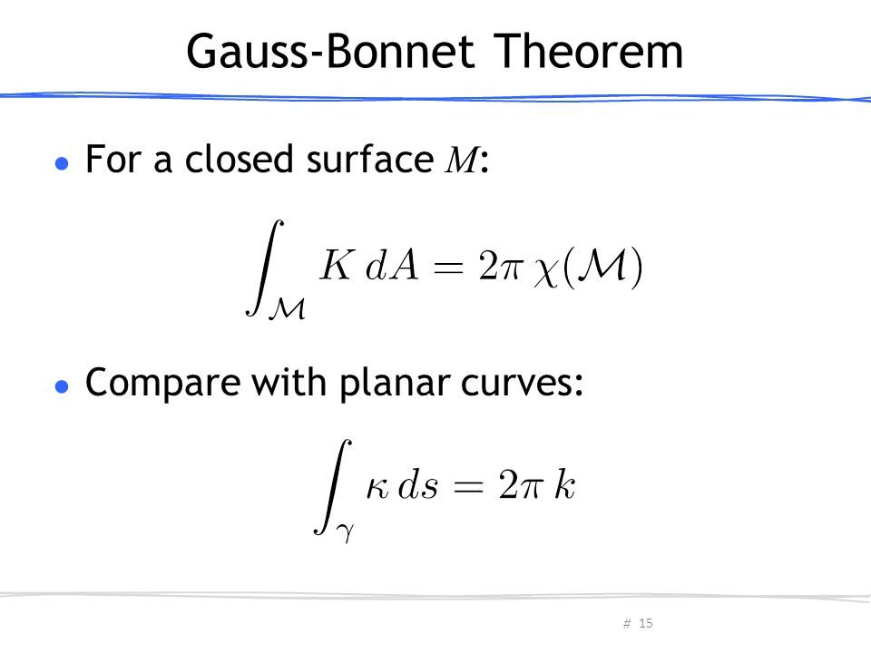 Gauss-Bonnet Theorem For a closed surface M:
