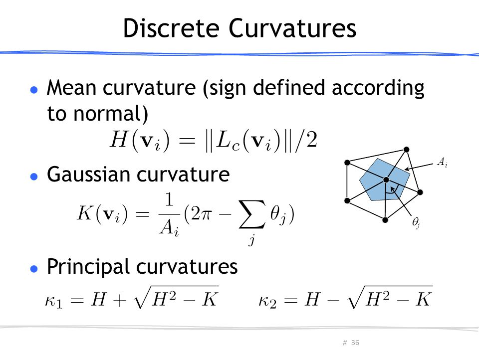 Discrete Curvatures Mean curvature (sign defined according to normal)