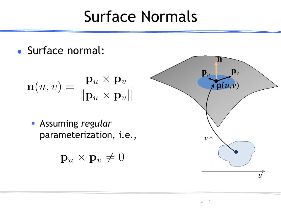 Surface Normals Surface normal: n pv pu