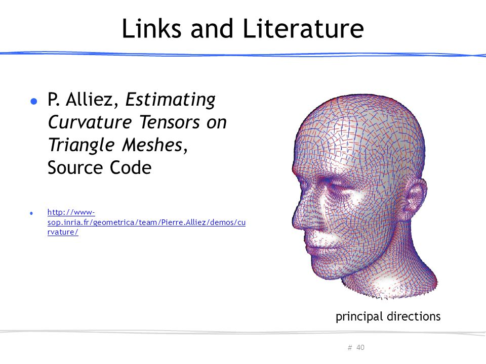 Links and Literature P. Alliez, Estimating Curvature Tensors on Triangle Meshes, Source Code.