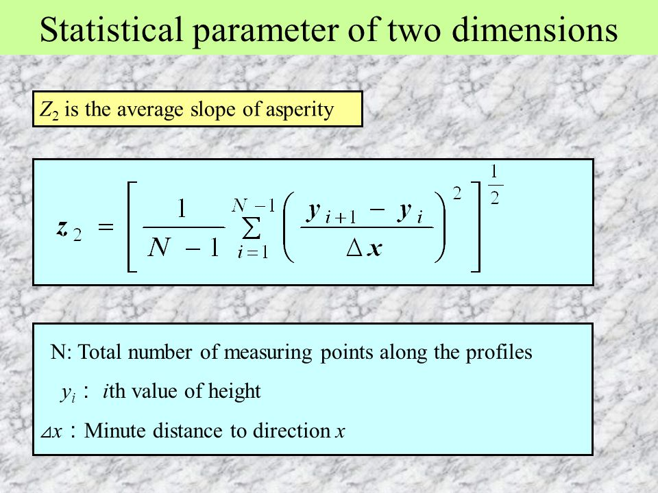 Statistical parameter of two dimensions