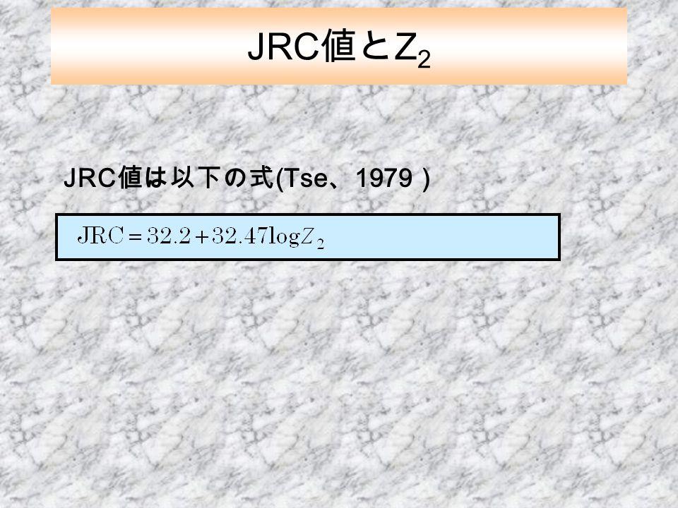 JRC値とZ2 JRC値は以下の式(Tse、1979)