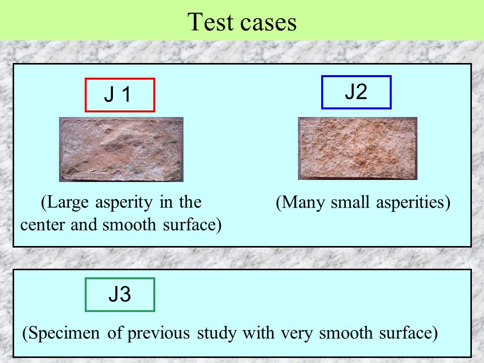 Test cases J2 J1 J3 (Large asperity in the center and smooth surface)