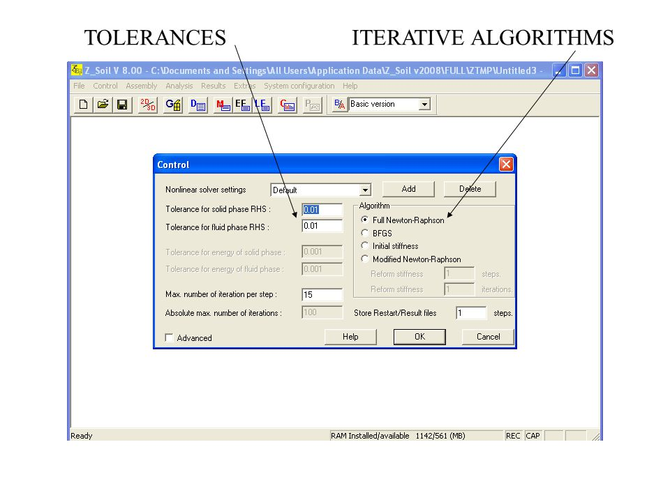 TOLERANCES ITERATIVE ALGORITHMS