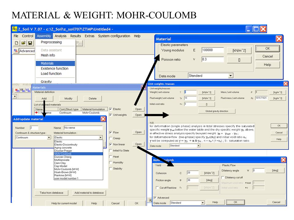 MATERIAL & WEIGHT: MOHR-COULOMB
