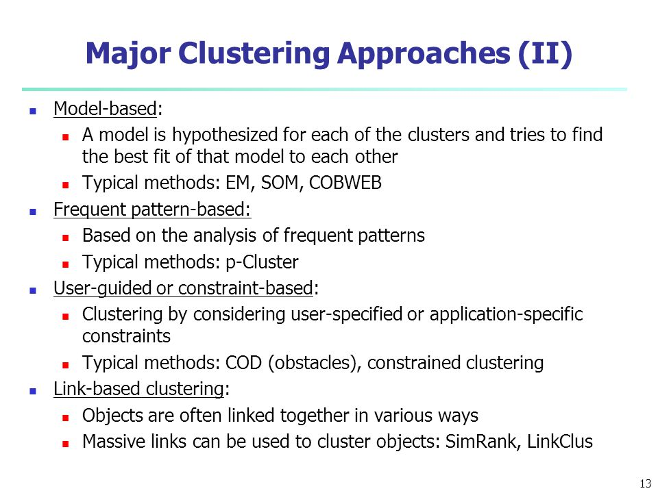 Major Clustering Approaches (II)