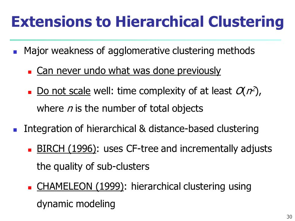 Extensions to Hierarchical Clustering