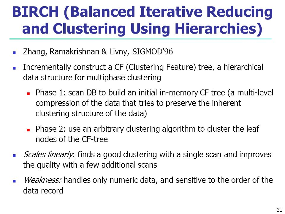 BIRCH (Balanced Iterative Reducing and Clustering Using Hierarchies)