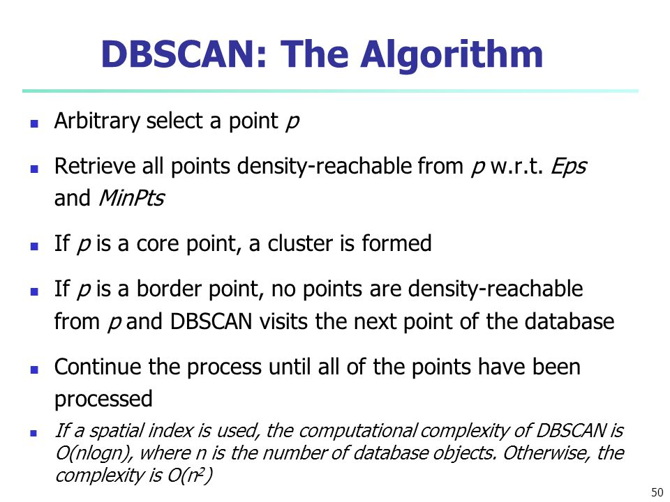 DBSCAN: The Algorithm Arbitrary select a point p