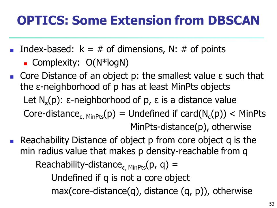 OPTICS: Some Extension from DBSCAN
