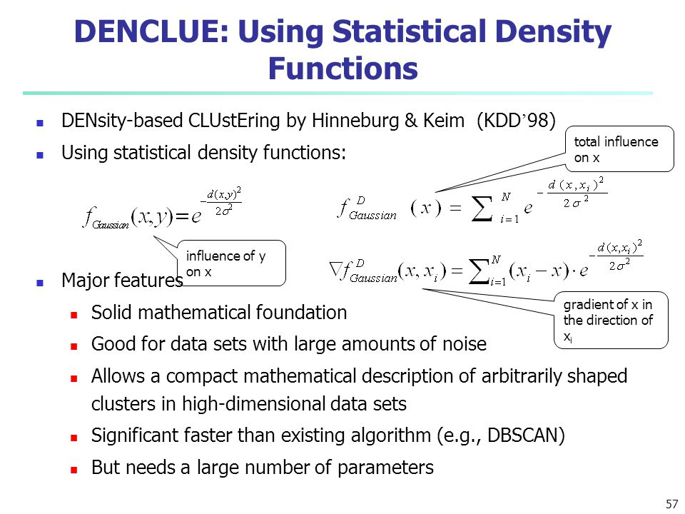 DENCLUE: Using Statistical Density Functions