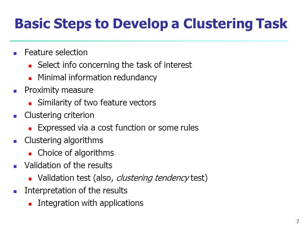 Basic Steps to Develop a Clustering Task