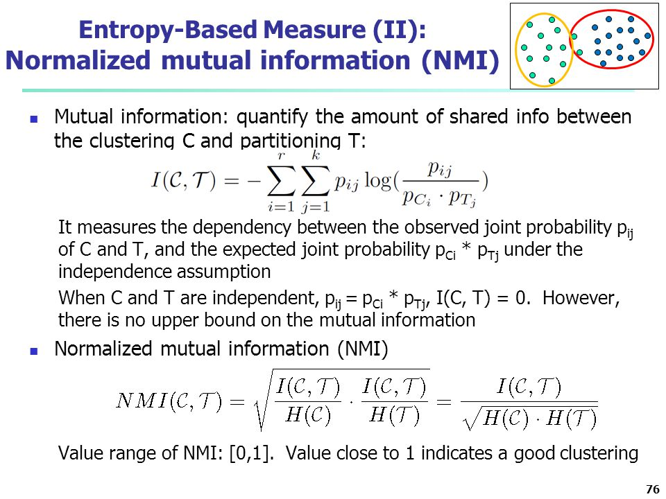 Entropy-Based Measure (II): Normalized mutual information (NMI)