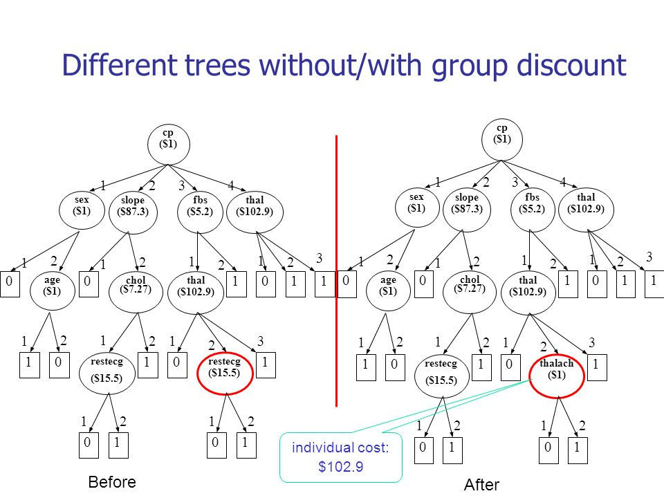 Different trees without/with group discount