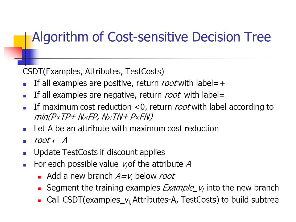 Algorithm of Cost-sensitive Decision Tree