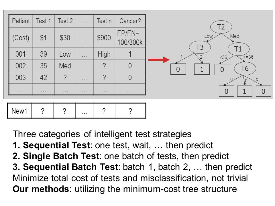 Three categories of intelligent test strategies