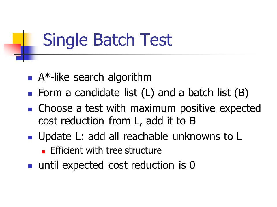 Single Batch Test A*-like search algorithm