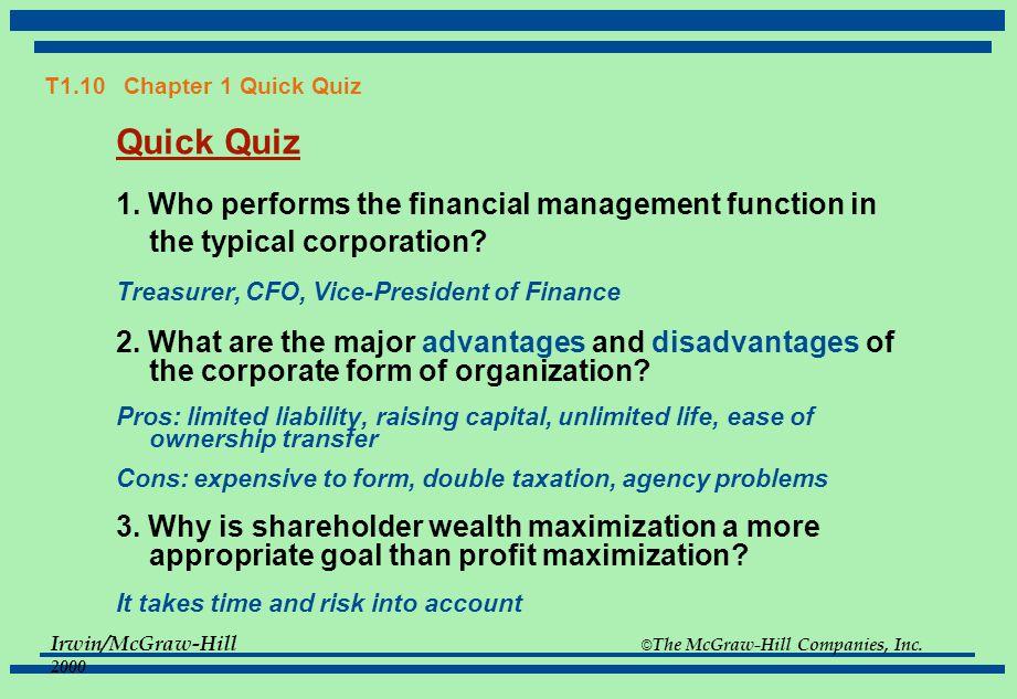 corporate finance quiz