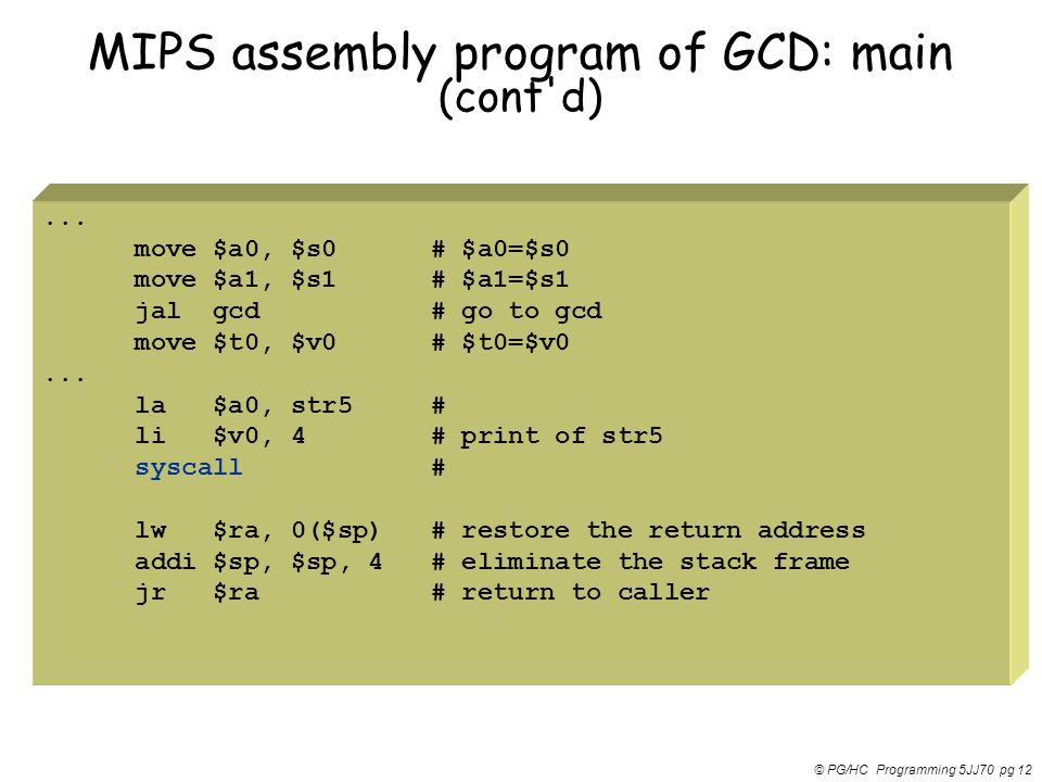 MIPS assembly program of GCD: main (cont d)