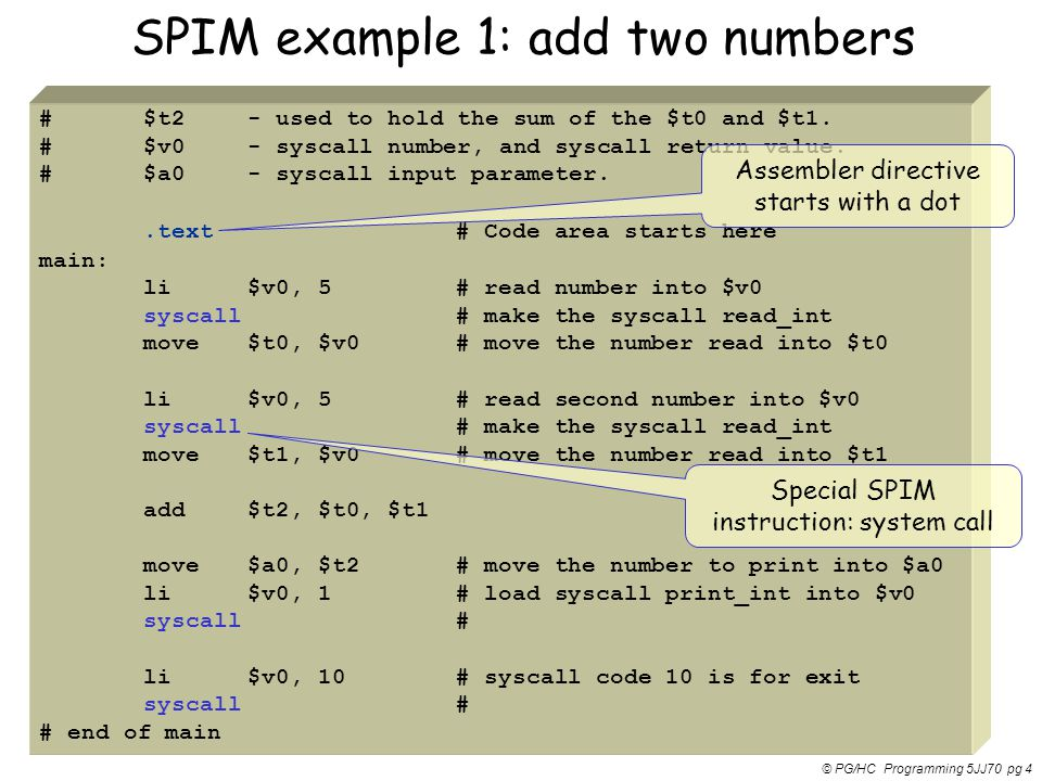 SPIM example 1: add two numbers
