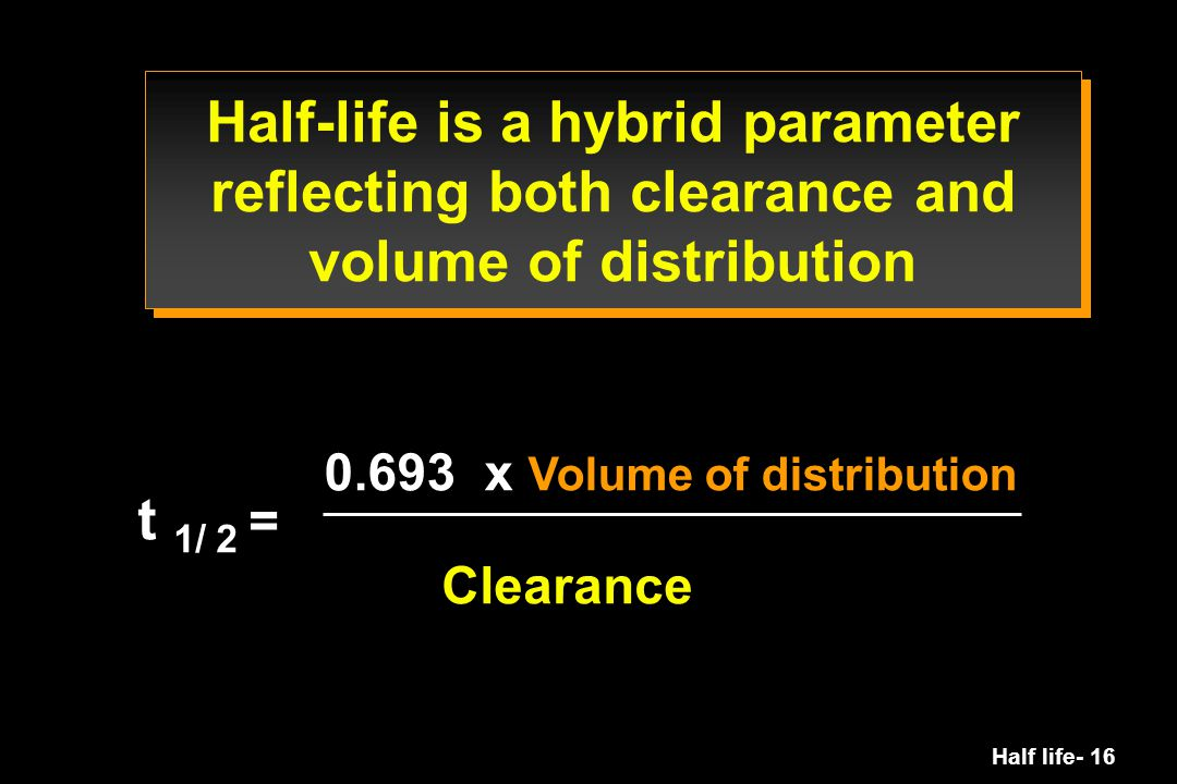 Half-life is a hybrid parameter reflecting both clearance and volume of distribution