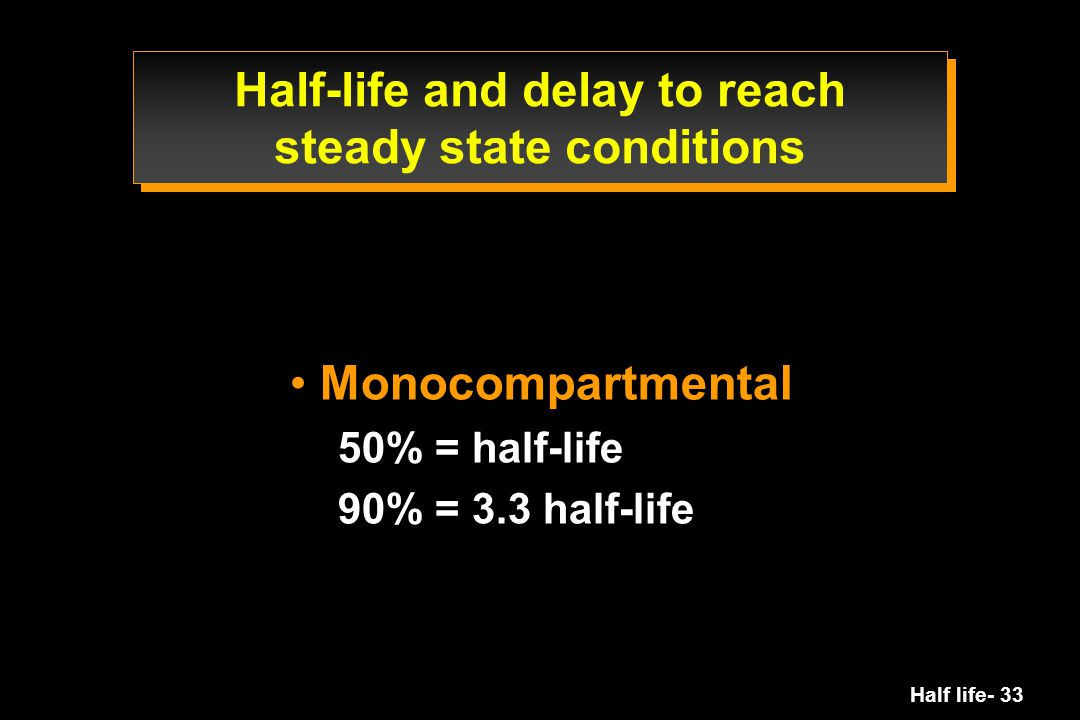 Half-life and delay to reach steady state conditions