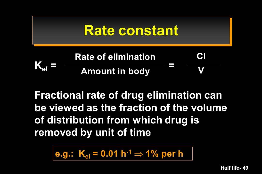 Rate constant Rate of elimination. Amount in body. Cl. V. Kel = =