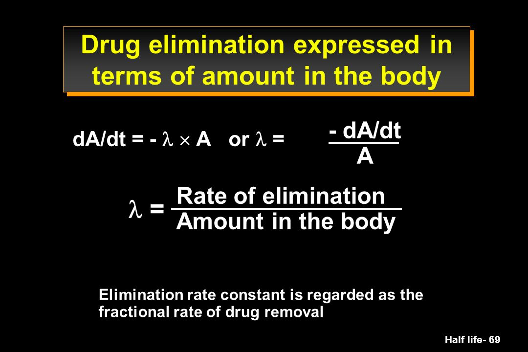 Drug elimination expressed in terms of amount in the body