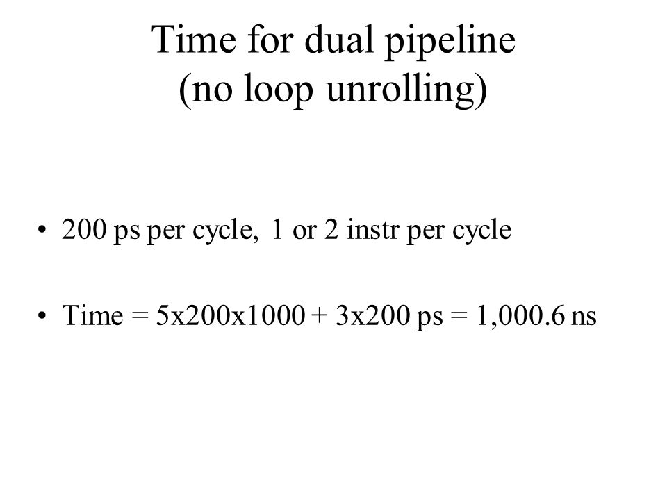 Time for dual pipeline (no loop unrolling)