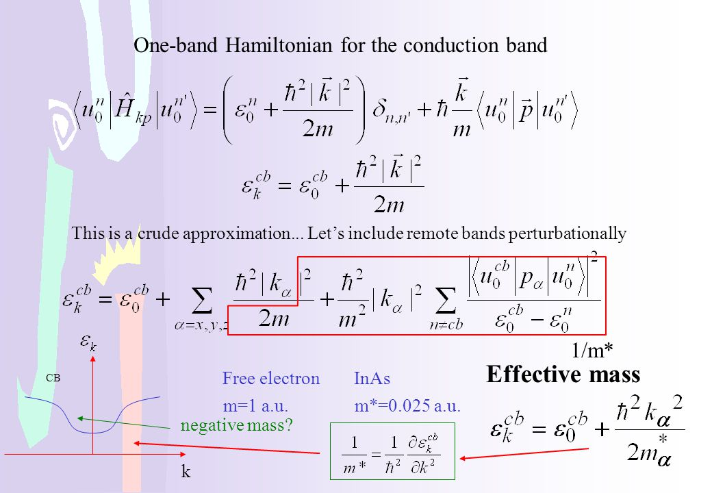 One-band Hamiltonian for the conduction band