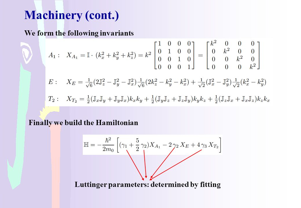Machinery (cont.) We form the following invariants