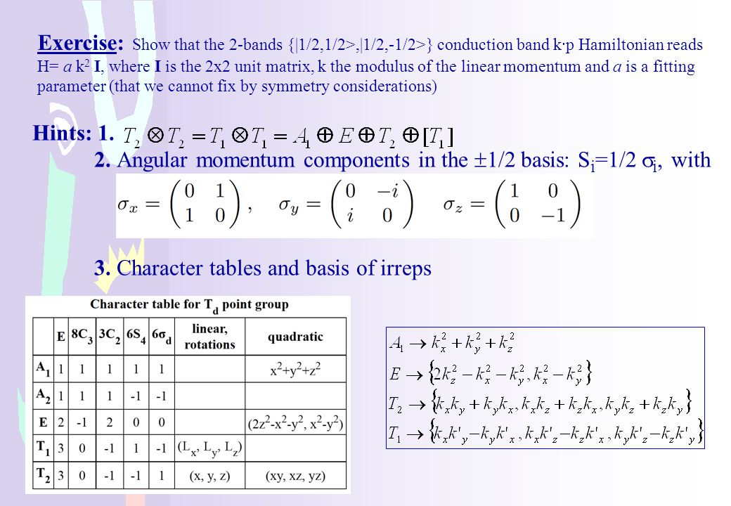 2. Angular momentum components in the 1/2 basis: Si=1/2 si, with
