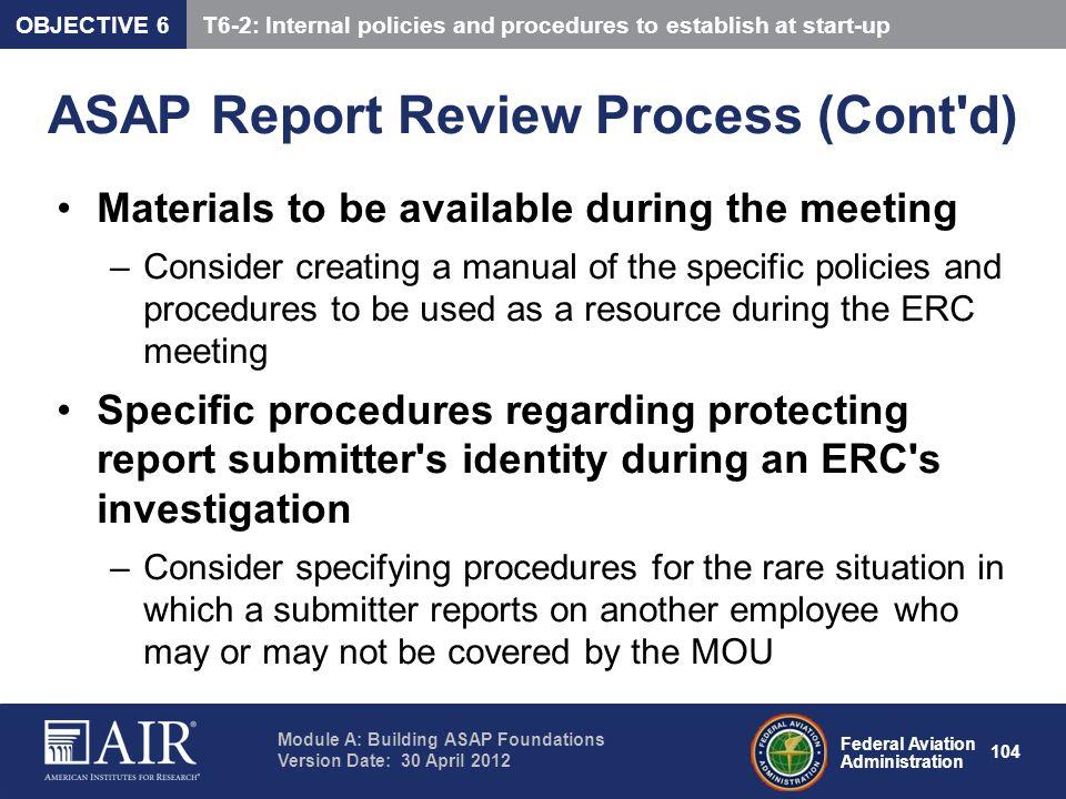 ASAP Report Review Process (Cont d)