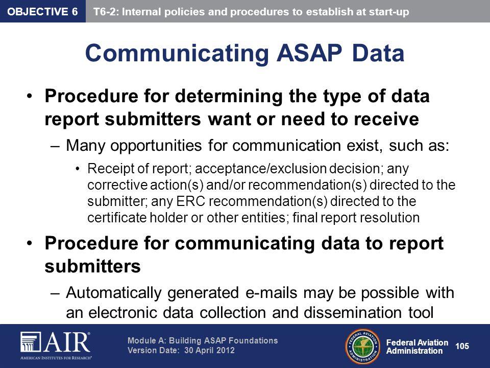 Communicating ASAP Data