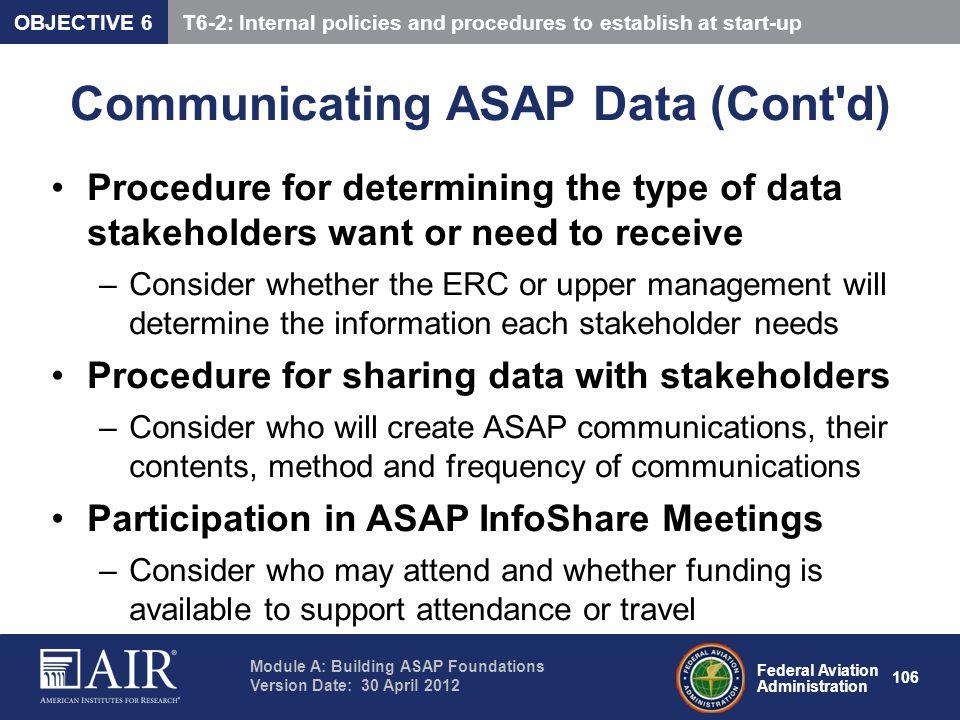 Communicating ASAP Data (Cont d)