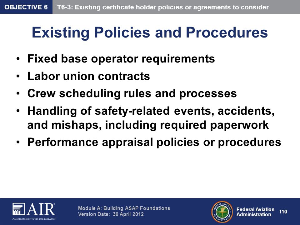 Existing Policies and Procedures
