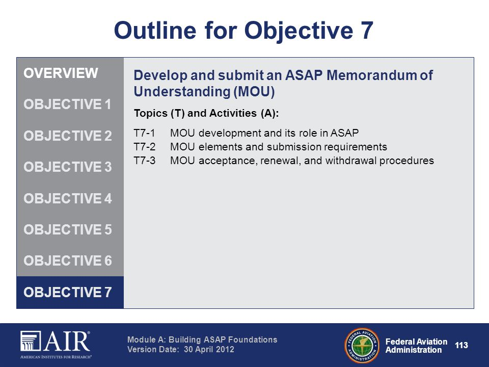 Outline for Objective 7 OVERVIEW