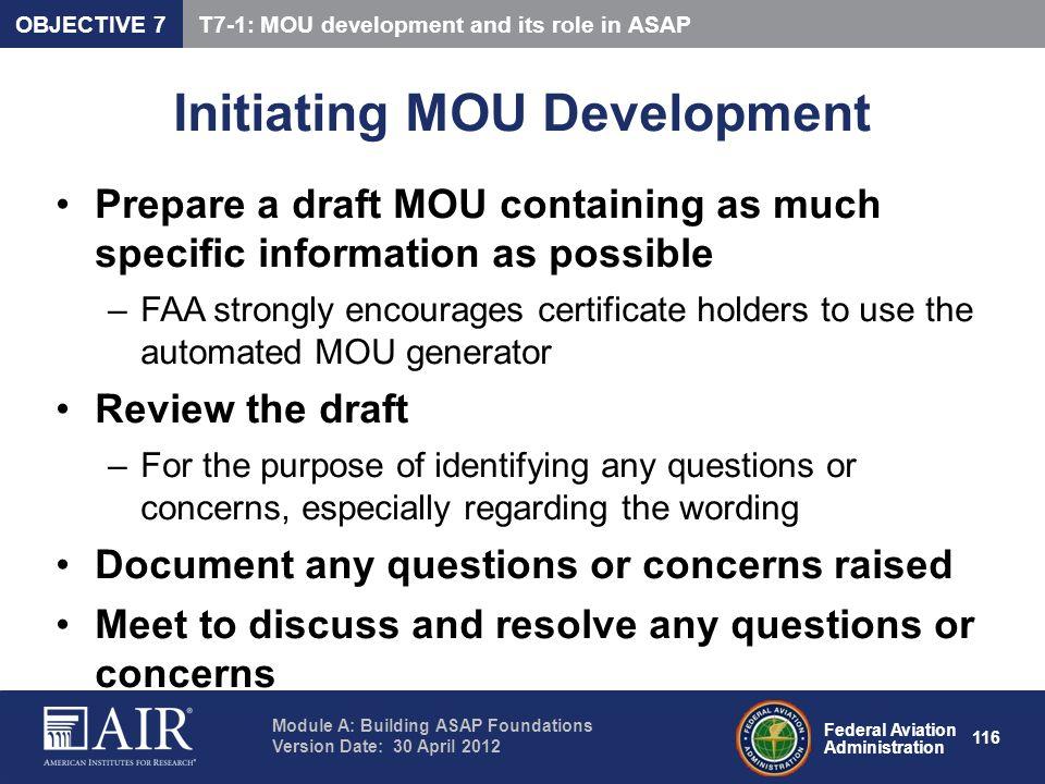 Initiating MOU Development