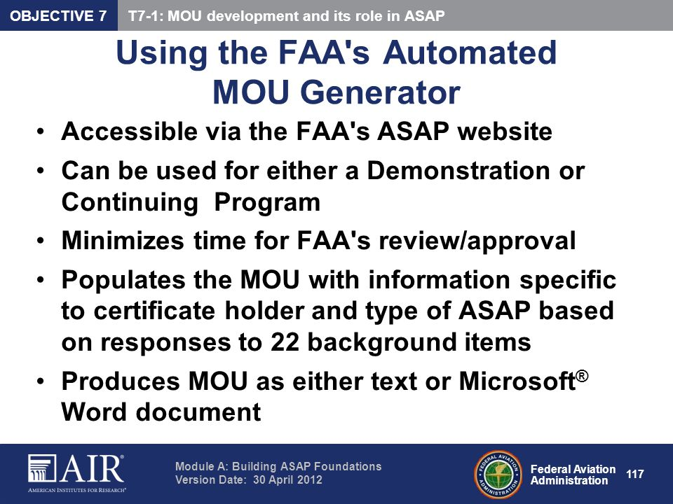 Using the FAA s Automated MOU Generator