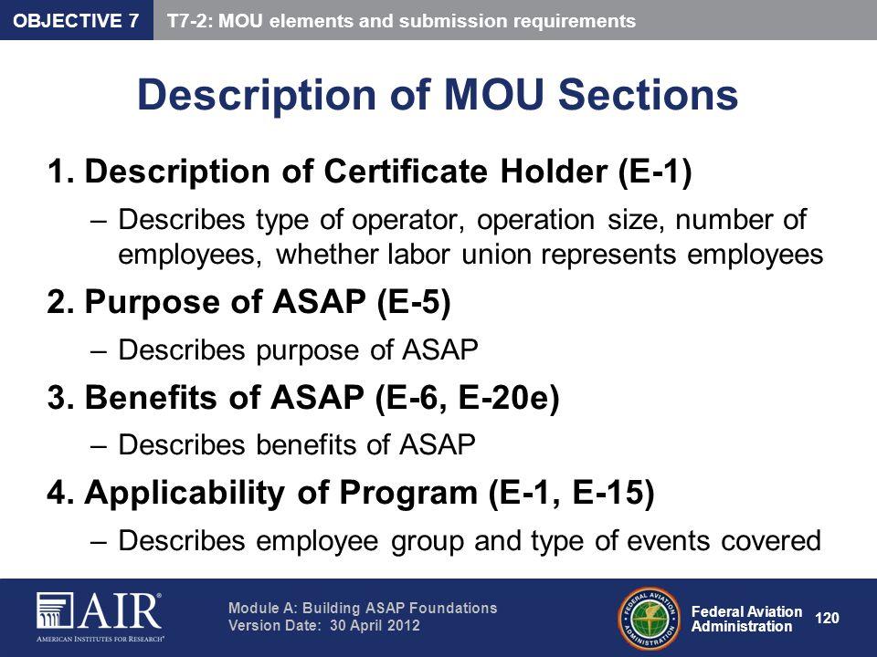 Description of MOU Sections
