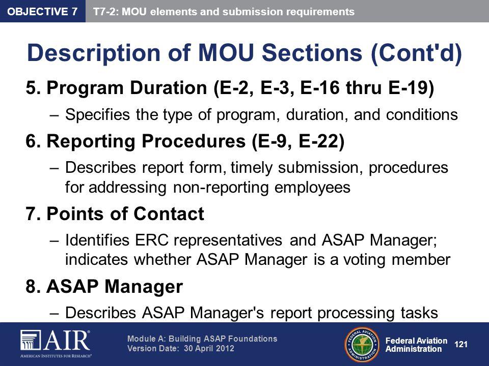Description of MOU Sections (Cont d)