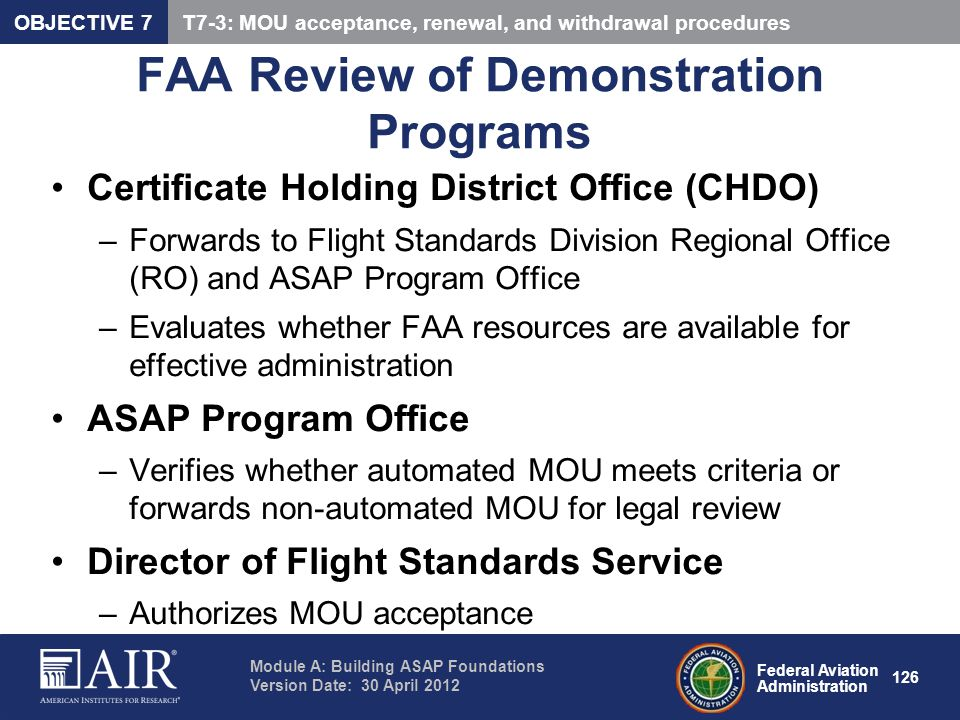 FAA Review of Demonstration Programs