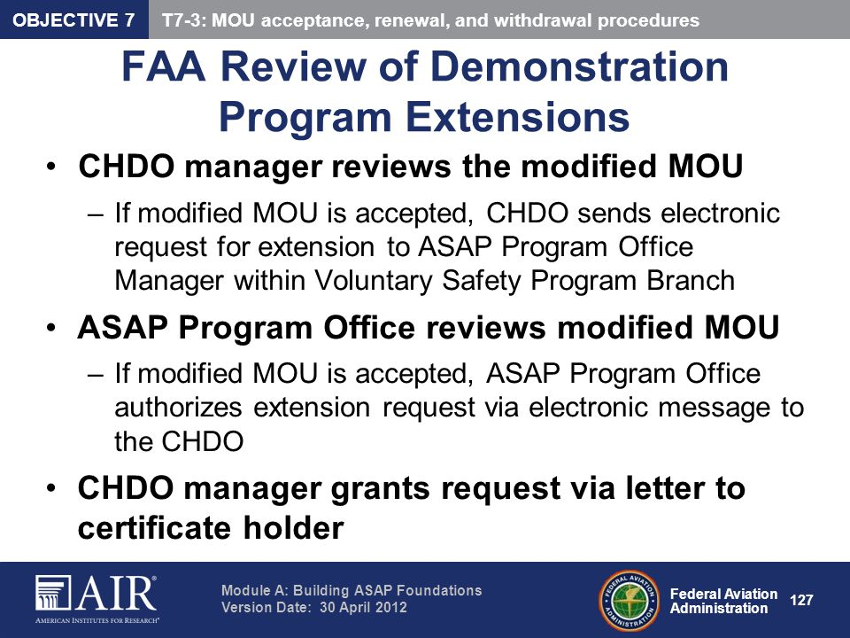 FAA Review of Demonstration Program Extensions