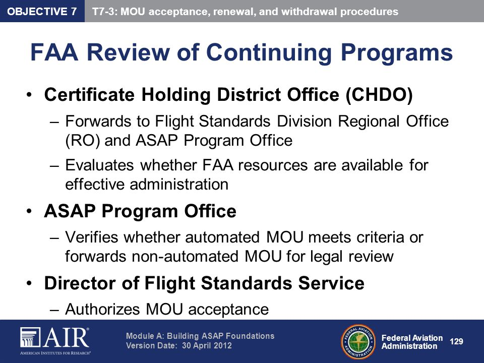 FAA Review of Continuing Programs