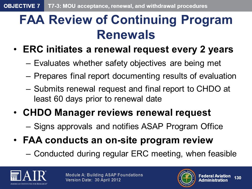 FAA Review of Continuing Program Renewals