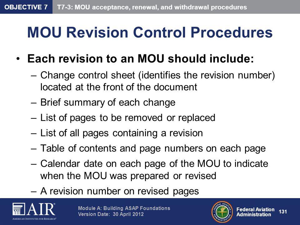 MOU Revision Control Procedures