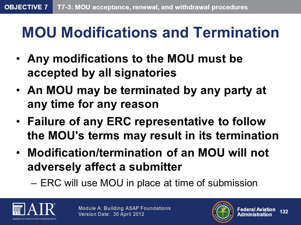 MOU Modifications and Termination