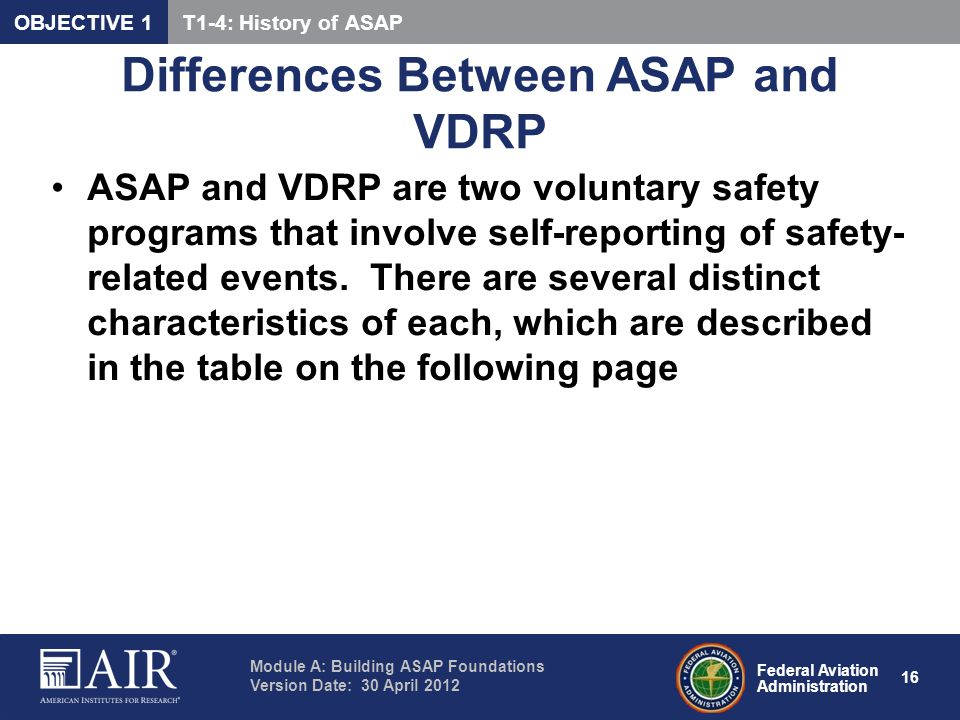 Differences Between ASAP and VDRP